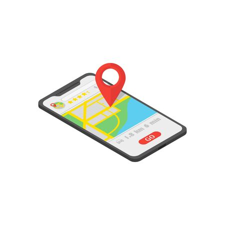map navigator in phone isometry whith location icon, flat