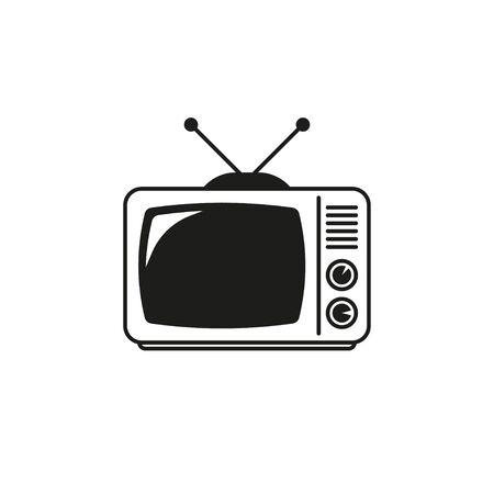 retro tv vector icon on white background