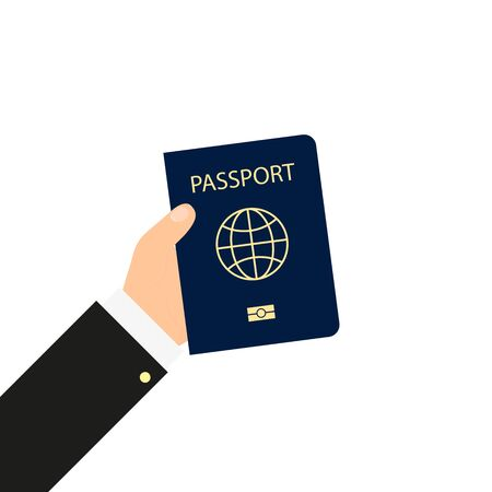 passport in hand in flat style, vector illustration