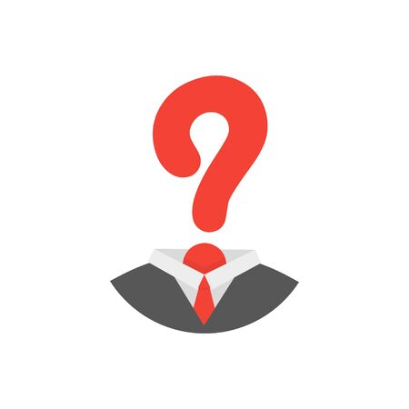 man question mark isolate in flat, vector illustration