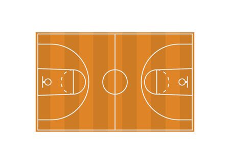 basketball field diagram in flat style, vector illustration