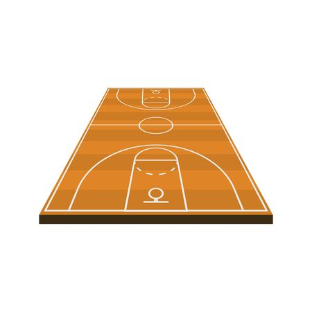 3d basketball field diagram in flat style, vector