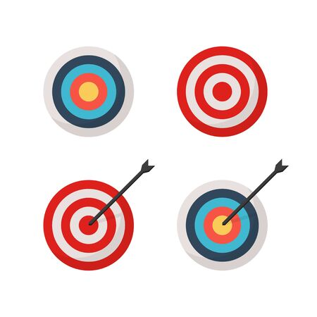 target and arrow set of colored icons in flat style, vector Ilustração
