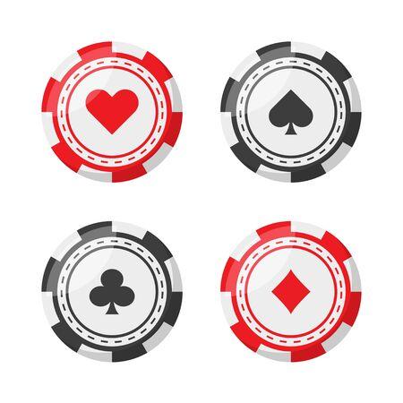 impostare fiche da poker in stile piatto, vettore isolato