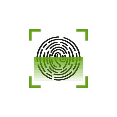 icon fingerprint scanner, identification system in flat, vector