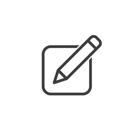 line icon of notes with pencil, vector illustration Ilustracja