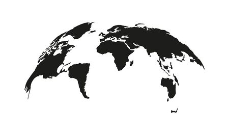curved map of the world in black, vector illustration