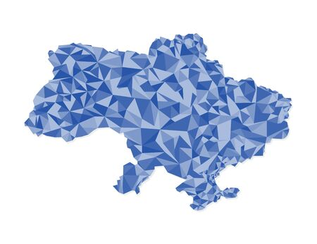 Ukraine map polygons blue triangles on a white background, vector