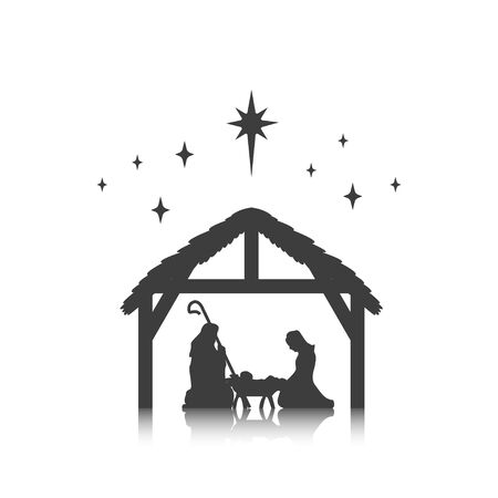 Christmas, baby Jesus in the manger with Mary and Joseph, vector Illustration