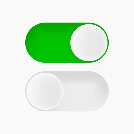switch button on and off in flat with shadow, vector