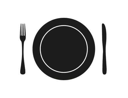 cutlery plate fork knife icon, isolate on a white background Illustration