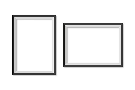 set frame for photo with shadow in white background, vector