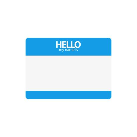hi my name is blue, flat sticker on a white background, vector