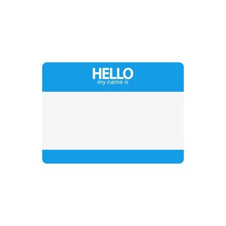 hola mi nombre es azul, etiqueta plana sobre un fondo blanco, vector