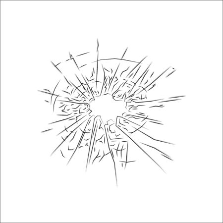 broken glass icon isolated on white background, vector