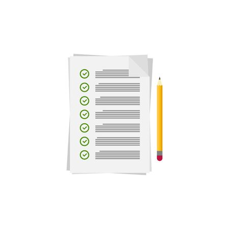 check sheet with pencil in flat style, vector Ilustrace
