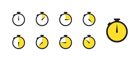 symbol timer set of icons in flat style, vector