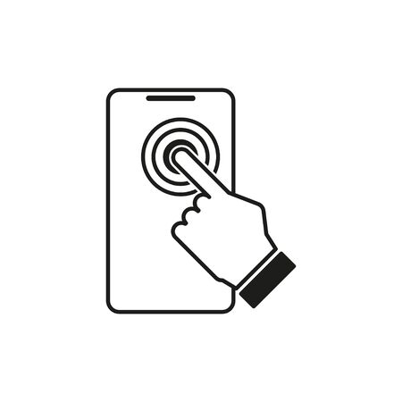 touch screen on phone icon isolate on white background