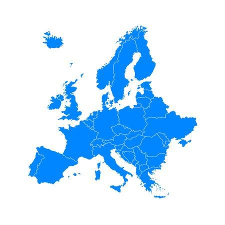 Mapa de Europa azul sobre un fondo blanco en plano