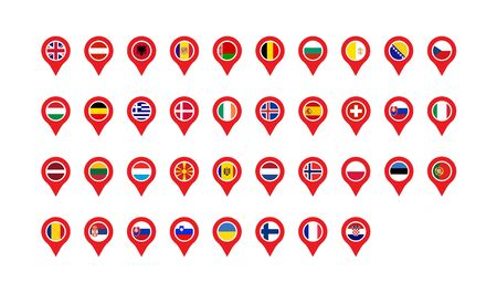 set flags of europe location labels in flat style
