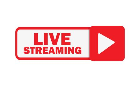 live streaming button in flat style, vector illustration