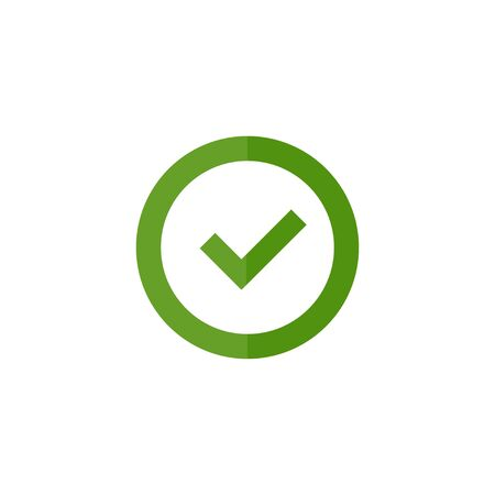 checkmark in a circle in flat style, on a white background, vector