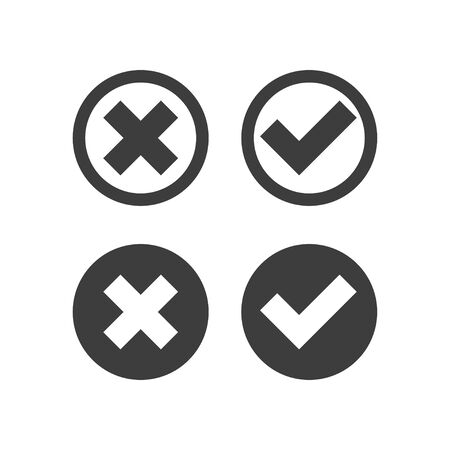 check mark cross icons on white background, vector