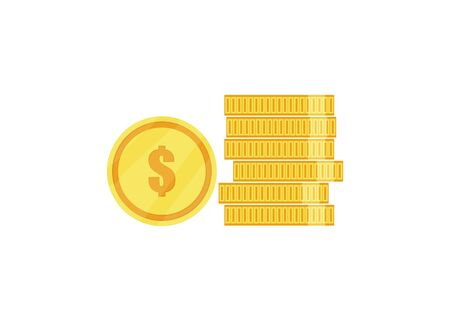 coins flat icon isolate on white background, vector