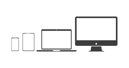 set technology icons pc, laptop, phone, and tablet, vector Illustration