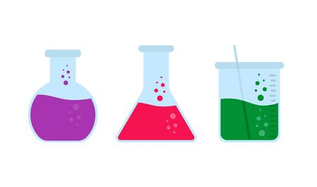chemistry flask set in flat style, vector illustration