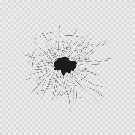 cracked and broken glass on transparent background, vector illustration