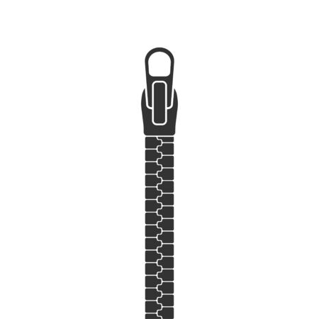 zipper lock on clothes, isolate icon on a white background, vector illustration Vectores