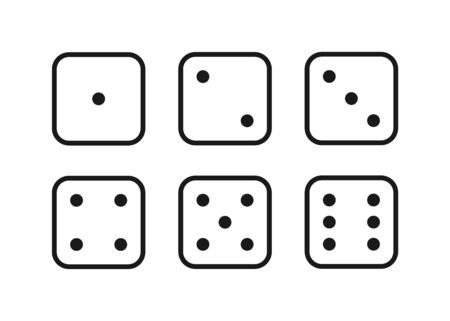 dice for game, eyes illustration, isolated icons set vector illustration