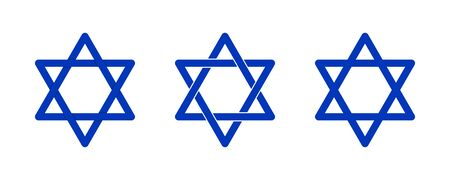 Set blue star of David icon on white backdrop. Religion holiday design
