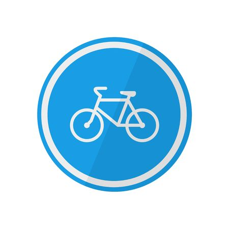 bike road sign vector bicycle illustration in flat style, isolate