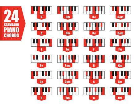 set 24 standard piano chords, flat vector illustration concept