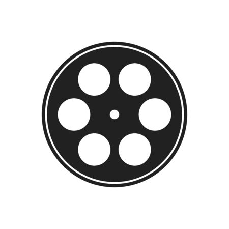 Vintage illustration with reel movie icon on white background. Vector movie illustration