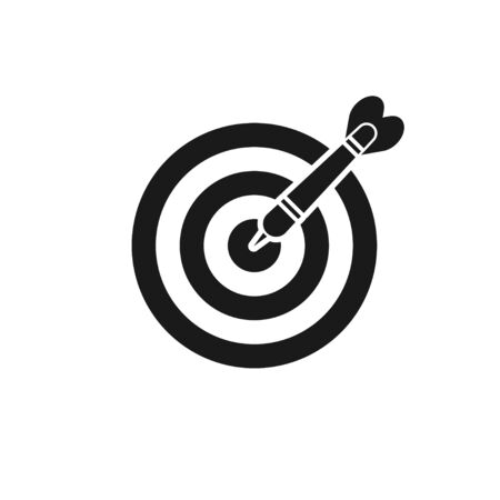 target with dart isolated icon on white bacground, vector illustration