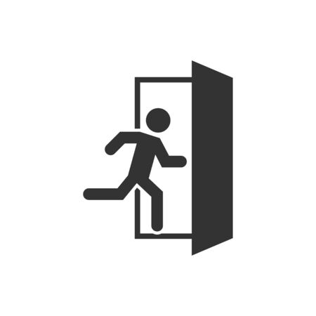 Emergency exit icon, great design for any purposes. Fire symbol. People vector icon. Right symbol. Emergency exit vector icon.