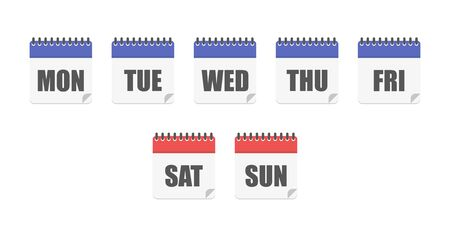 Days week calendar. Week calendar icon. Planner template. Calendar symbol icon. Year icon.