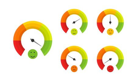 good quality, smile face, color speedometer set in flat style, vector illustration Vector Illustratie