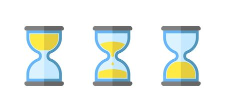 hourglass flat, simple vector icon, clock icon set isolated, vector illustration object Ilustracje wektorowe