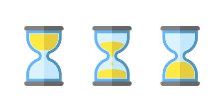 hourglass flat, simple vector icon, clock icon set isolated, vector illustration object Ilustração Vetorial