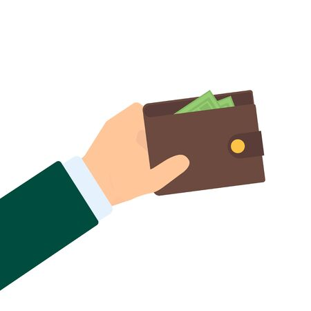 Illustration with hand wallet in flat style, finance vector isolated