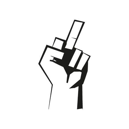 Middle finger icon for concept design. Retro line art poster