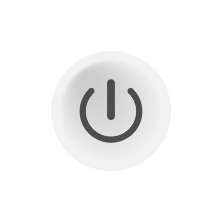 Abstract button with power button push icon. 3d illustration isolated vector