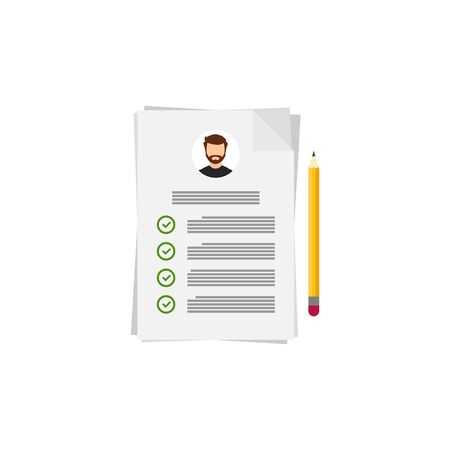 Flat resume and pencil for cover design, vector illustration