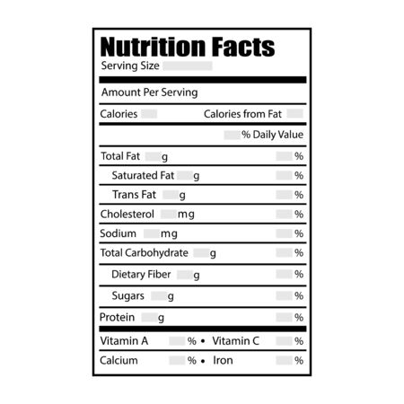 Nutrition facts design label. Vector illustration in flat style