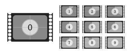 Retro set film countdown. Isolated vector illustration on white background  イラスト・ベクター素材