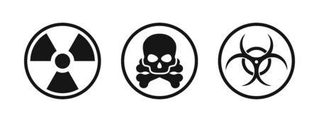 Set with nuclear chemical biological icon. Vector isolated icon. Vectores
